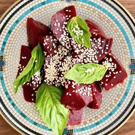 Pomegranate and Sesame Roasted Beets