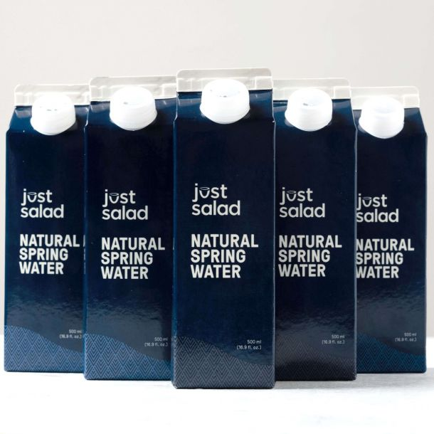 Boxed water from Just Salad