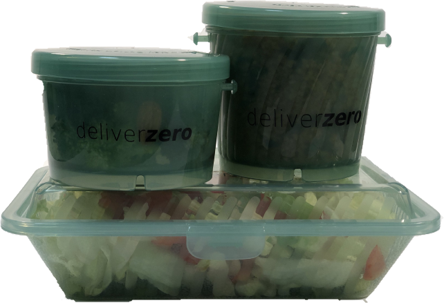 3 green plastic deliverzero containers with food in them
